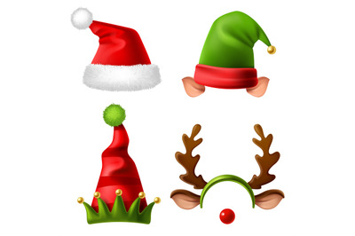 Christmas holiday hats. Santa claus red cute cap, snow reindeer and el