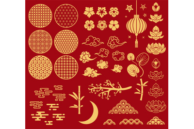 Chinese new year elements. Festive asian ornaments, patterns in orient
