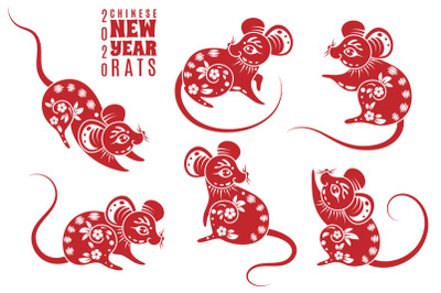 New year 2020 rat. Red rats with asian pattern elements. Chinese astro