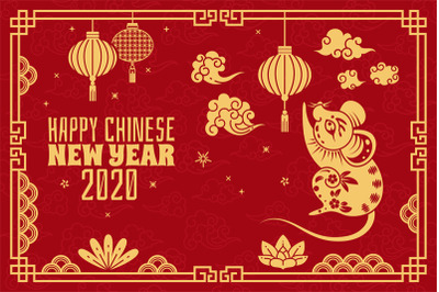 Chinese new year. 2020 red concept with golden rat, traditional orient