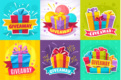 Giveaway post. Give away gift announcement, winner contest reward and