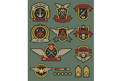 Military army badges. Patches, soldier chevrons with ribbon and star.