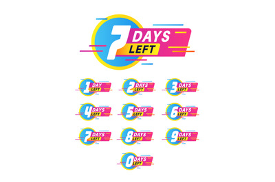 Days to go badges. Product promotion, big deal banner. Limited offer w