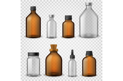 Medical glass bottles. 3d realistic brown blank packaging, pharmacy sy