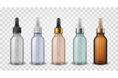 Glass bottles with dropper. 3d realistic cosmetic blank vials for esse