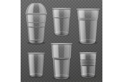 Transparent plastic disposable cups. Empty glasses various size for co