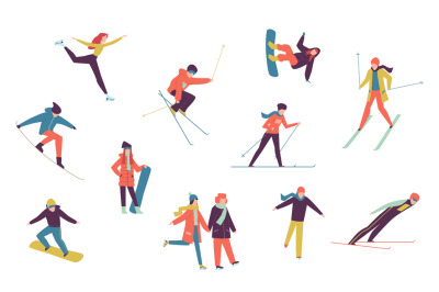 Winter sport people. Including ice skater, snowboarder and skier isola