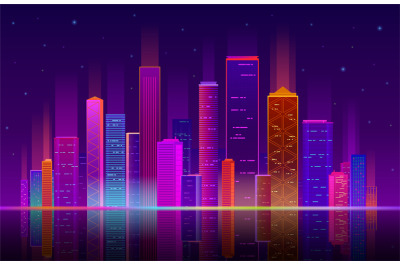Night city. Building with neon light, future skyline with skyscrapers.
