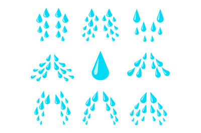 Cartoon tears. Cry, water and sweat drops, eye droplets. Teardrop rain