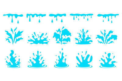 Cartoon water splashes. Blue flowing liquid, aqua stream with drops. S