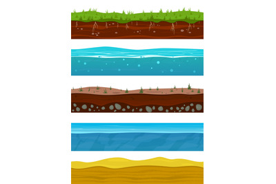 Soil layers. Game ground surfaces with land grass, dried desert sand,