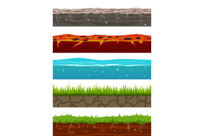 Ground seamless levels. Game earth surfaces with land grass, dried soi