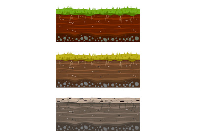 Soil ground layers. Seamless ground, earth drying process. Dirt clay s