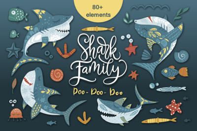 Shark family. Do Do Do Graphic set.