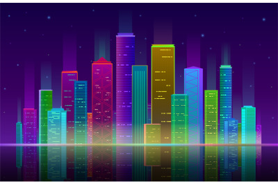Night city. Futuristic cityscape with bright and glowing neon purple a