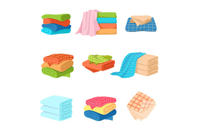 Folded towel. Soft fashion fabric cotton color towels for fresh kitche