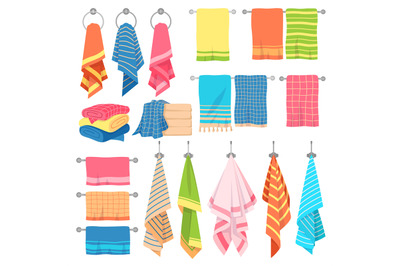 Hanging towels. Hang fabric soft color fresh textile kitchen or bath t