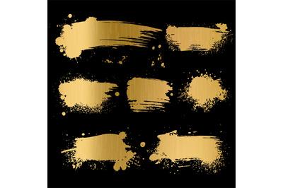 Gold grunge background. Black texture on golden foil paper for luxury