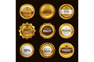 Best certification golden sign. Gold design premium award emblem medal