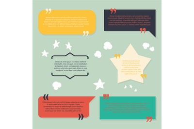 Text and quotes boxes. Design frame elements texting review informatio