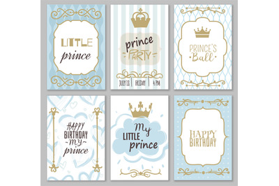 Prince frames. Cute boy party invitation shower or sweet photo borders