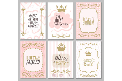 Princess borders. Cute girl party invitation shower or sweet frames fo