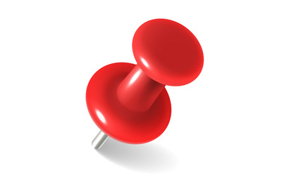 Red thumbtack. round metal pushpin for attach memo and pinned document