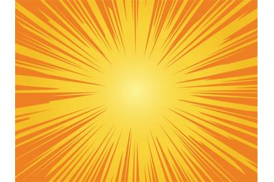 Orange sun background. Sunrise vintage circle shiny design with heatin