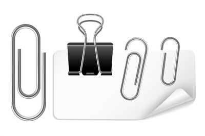 White paper holder and clip. Black and silver clips fix business offic