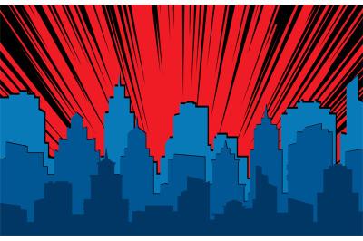 Comic cityscape. Retro urban silhouette of city buildings for art book