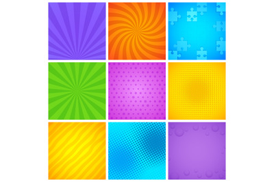 Comic wrapping patterns. Pop art geometric square frame with color pri