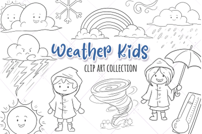 Cute Weather Kids Digital Stamps