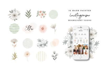 Watercolor flowers Instagram Highlight Icons