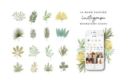 Instagram Highlight Icons Watercolor leaves