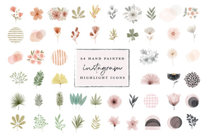 64 Instagram Highlight Icon bundle - watercolor hand painted