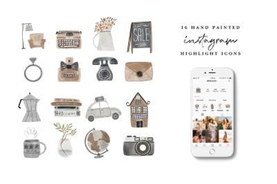 Watercolor Instagram Highlight Icons - vintage items