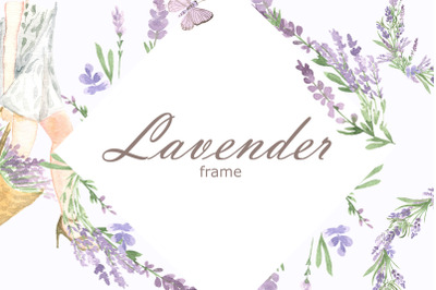 Watercolor lavender frame