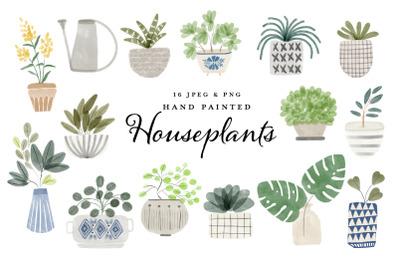 watercolor houseplant clipart set
