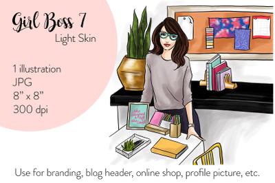 Watercolor FashionIllustration -Girl boss 7 - Light Skin