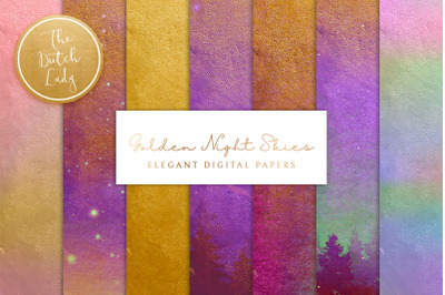 Digital Backgrounds & Papers - Golden Night Skies