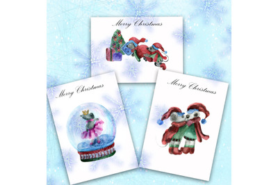 Set of watercolor New Year and Christmas illustrations. Mouse watercol