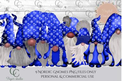 Tomte gnomes - christmas snowflakes blue