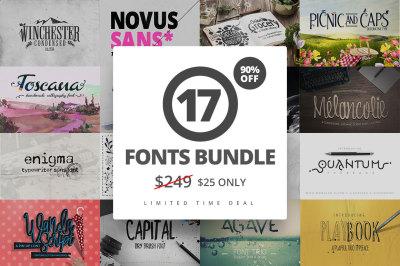 17 Fonts Bundle + Extras