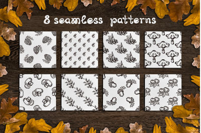 8 hand drawn fall seamless patterns