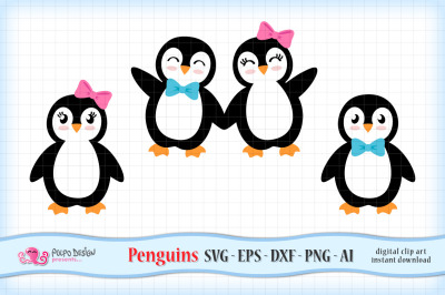 Girl and Boy Penguins SVG