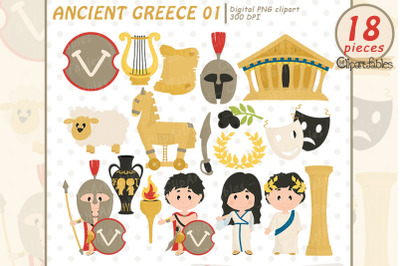 Ancient Greece clipart, Travel clip art, Sparta -digital art