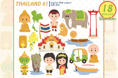Cute Thailand clipart, Buddha clip art, nice travel design