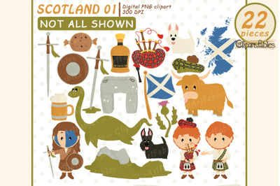 Scotland clipart, Scottish art, travel, instant download