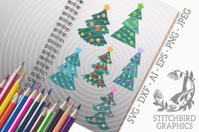 Retro Christmas Trees SVG, Silhouette Studio, Cricut, Eps