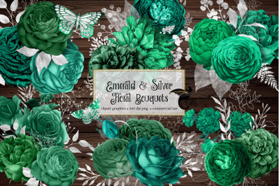 Emerald and Silver Floral Bouquets Clipart